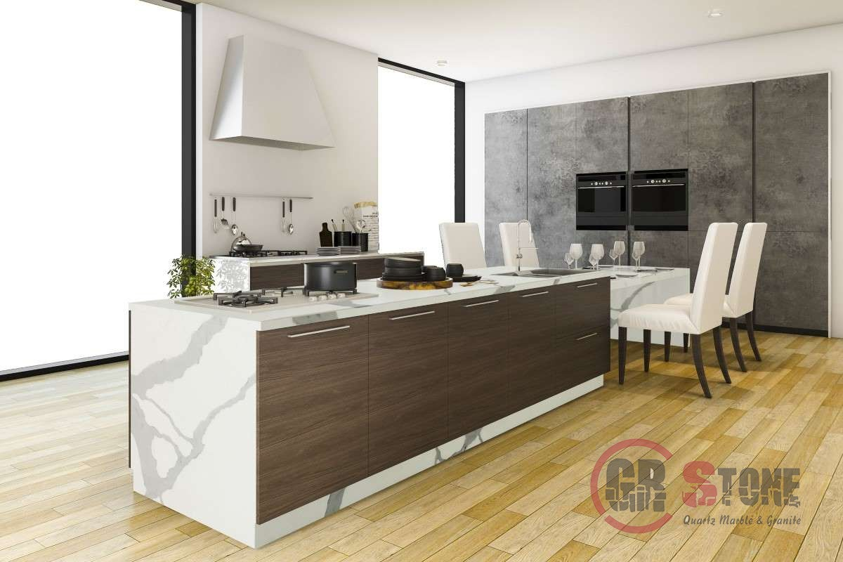3d rendering contemporary wood kitchen with dining zone